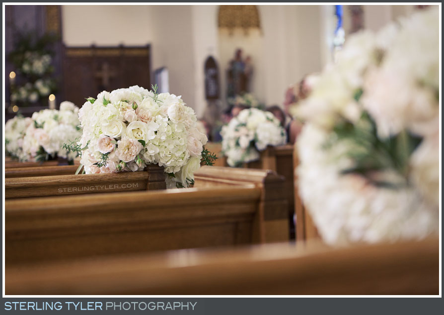 st helena catholic church wedding service flower decor detail