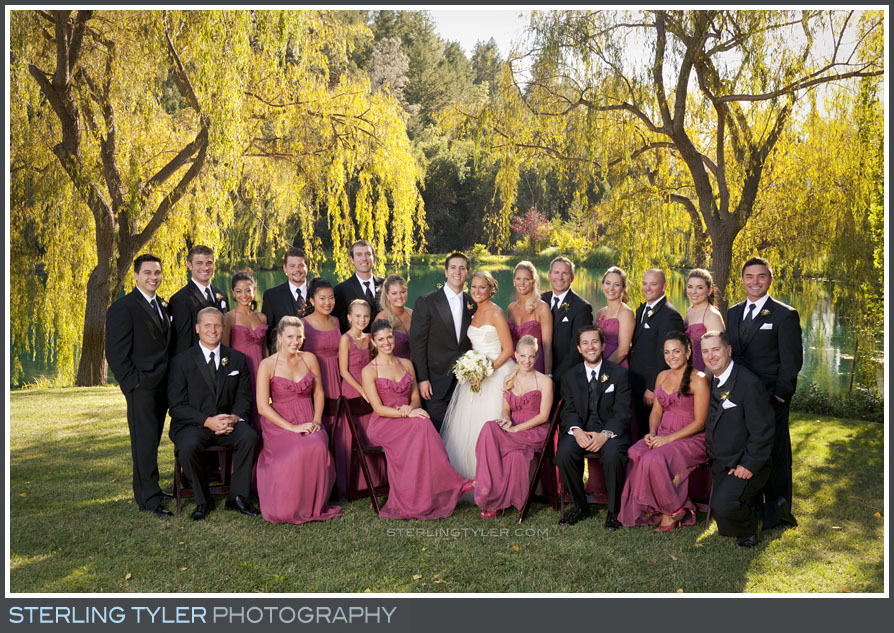 wedding party group portrait black swan lake