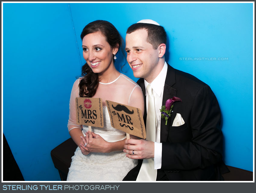 bride groom portrait wedding reception photo booth sephardic temple