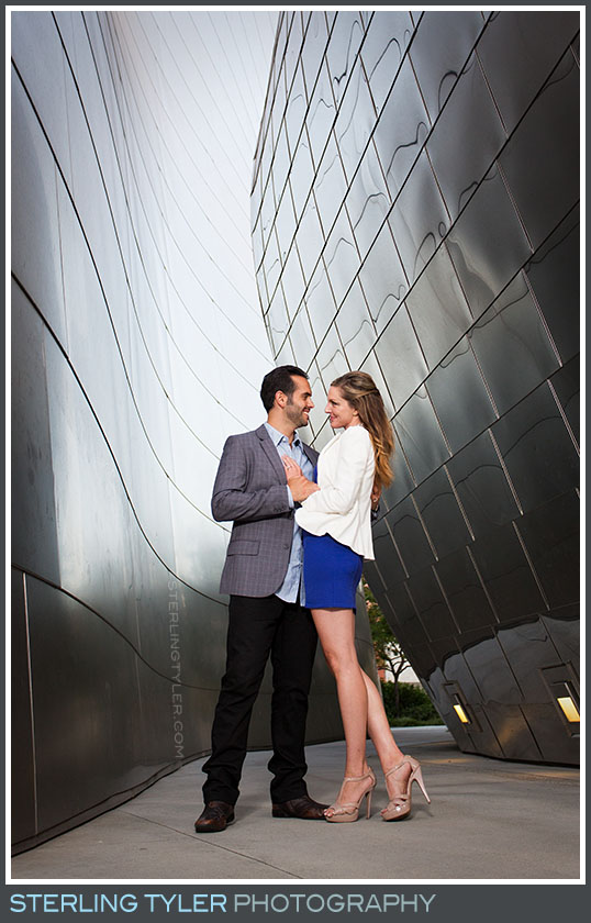 Downtown Los Angeles Walt Disney Music Hall Engagement Portrait Photos