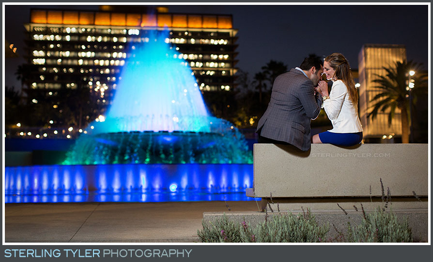 Downtown Los Angeles Fountain Engagement Portrait Photography